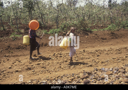 Two Meru women carrying water containers on their way to a spring Meru District Kenya East Africa - Stock Photo