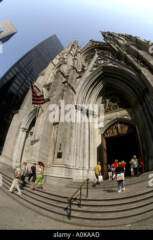 Main entrance to St Patricks Cathedral seat of the Archbishop of New York and largest decorated gothic style Catholic - Stock Photo