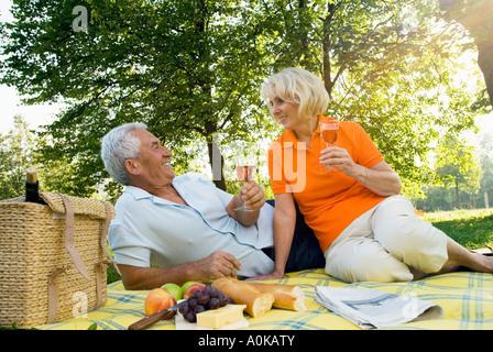 mature couple having picnic in park - Stock Photo