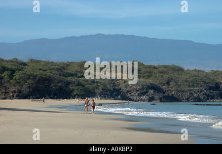 A couple walks along the beach in Hawaii.