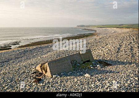 Remains of Second World War pill box at Limpert Bay at Aberthaw Power Station Wales UK - Stock Photo