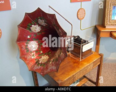 Early phonograph invented by Thomas Elva Edison is on display in a museum in his boyhood town of Port Huron Michigan - Stock Photo