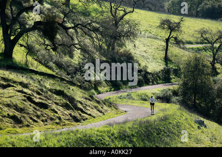 Model released male running in green hills - Stock Photo