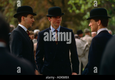 Bowler hatted young cavalry officers in London - Stock Photo