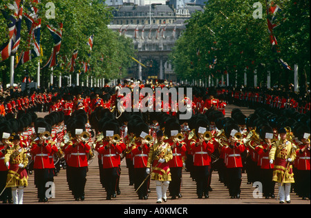 Trooping the Colour Ceremony in London in June. Guards band playing in The Mall. - Stock Photo