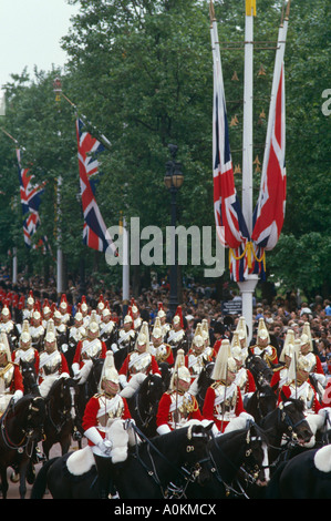 Household Cavalry parade along The Mall in London, during the Trooping of the Colour ceremony in June - Stock Photo