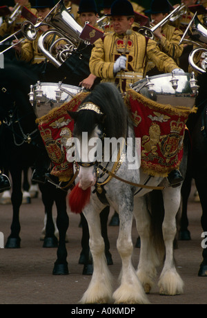 The band of the Life Guards Household Cavalry parade down The Mall in London, at the annual Trooping the Colour - Stock Photo