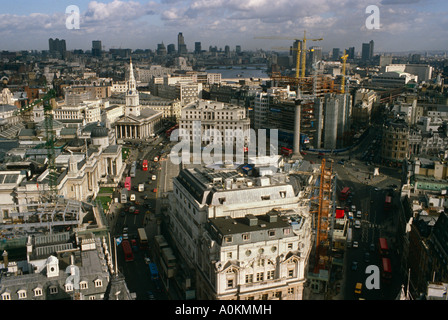London panorama from New Zealand House, looking over Trafalgar Square and St Martins in the Fields church - Stock Photo