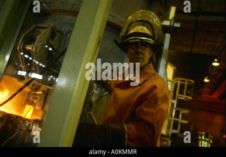 making steel in Tata Corus Llanwern steel works in Wales - Stock Photo