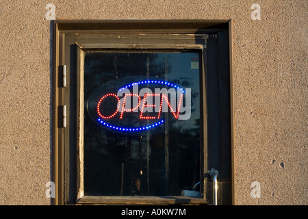 Bar open neon light in door window - Stock Photo & A neon sign displaying the word restaurant against a dark night ... Pezcame.Com