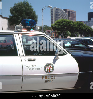 Police car parked  in Westwood street Los Angeles California USA   KATHY DEWITT - Stock Photo