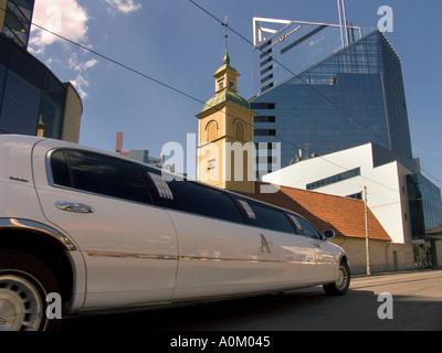 Stretch limo in Tallinn Estonia - Stock Photo