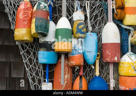 Buoy display in Rockport Massachusetts - Stock Photo