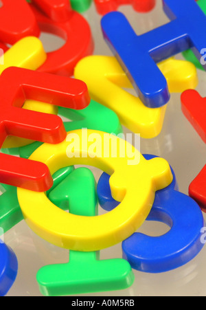 plastic magnetic fridge magnet letters and numbers stock photo