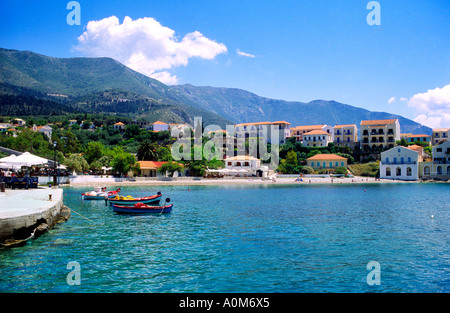 Assos Harbour Kefalonia Greece - Stock Photo