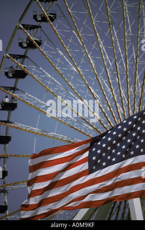 ferris wheel carnival county fair theme park - Stock Photo