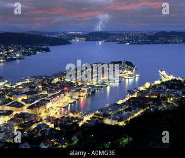 NO - HORDALAND: Bergen by night seen from Fjellvei Mountain - Stock Photo