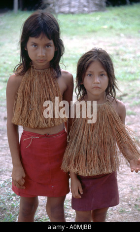 Two girls from the Yagua Tribe in the Amazon region of Peru - Stock Photo
