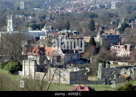 City centre of Winchester Hampshire southern England UK Wolvesey Castle - Stock Photo