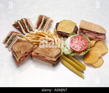 assorted sandwich  combos combinations bacon lettuce tomato roast beef cheese hamburger cheeseburger ham swiss chips - Stock Photo