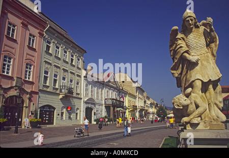 Statue of angel near Plague Column at Hlavna (Main) Street in Kosice, Slovakia - Stock Photo