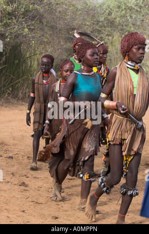 ETHIOPIA Lower Omo valley Turmi Hama Jumping of the Bulls initiation ceremony Ritual dancing round cows and bulls - Stock Photo