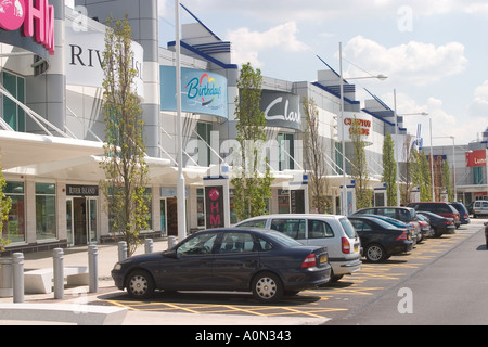 Famous brand stores at Gallions Reach Shopping Park Beckton Newham East London UK - Stock Photo