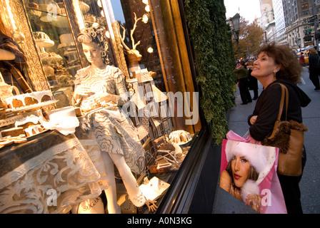 Candy cake and chocolate Christmas window display Bergdorf Goodman department store 5th Avenue Uptown Manhattan - Stock Photo