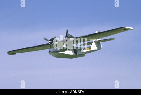 Consolidated PBY Catalina aircraft in RAF Coastal Command Camouflage Flypast Fairford Air Tattoo - Stock Photo