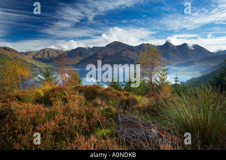 the Five Sisters of Kintail Loch Duich in autumn Wester Ross Scotland UK - Stock Photo