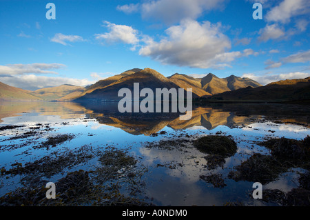 the Five Sisters of Kintail reflected in Loch Duich Wester Ross Scotland UK - Stock Photo