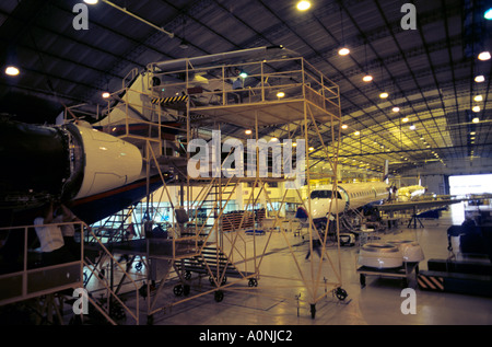 Sao Paulo, Brazil. New ERJ series aircraft under construction in hangar at Embraer factory. - Stock Photo