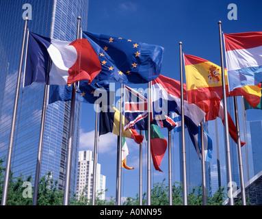 European Union Flags, La Defense, Paris, France - Stock Photo