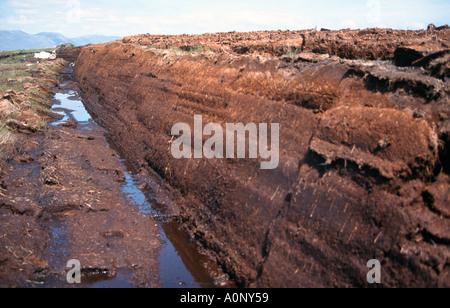 Peat Turf Cut Work in Connemara Ireland - Stock Photo