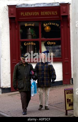 Visitors walking through town of Blaenavon Torfaen Gwent South Wales UK - Stock Photo