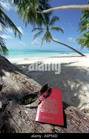 Passport on a tropical beach in The Maldives - Stock Photo