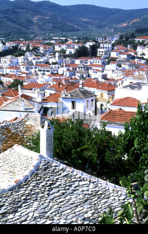 A view of the stone slated roofs of Skopelos Town Skopelos in the Greek Sporades Islands number 1652 - Stock Photo