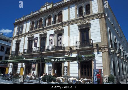 Cafe on the Plaza Ronda - Stock Photo
