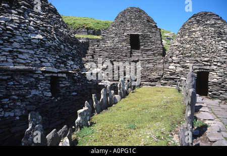 Monastery Settlement at Skellig Michael in Ireland - Stock Photo