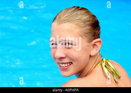 Girl in the Pool - Stock Photo