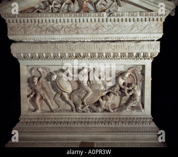 Detail of the sarcophagus of Alexander the Great Istanbul Museum Turkey Europe Eurasia - Stock Photo