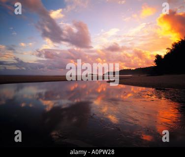 Freshwater Pool Reflection Secret Beach Island of Kauai Hawaii - Stock Photo