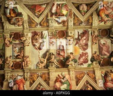 Ceiling of the Sistine Chapel The Vatican Rome Lazio Italy Europe - Stock Photo