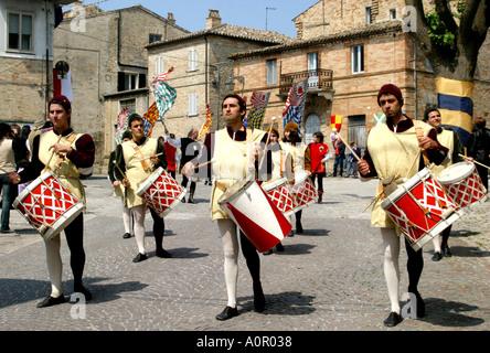 medieval costume in procession at Monterubbiano annual festival ,Le Marche Italy - Stock Photo
