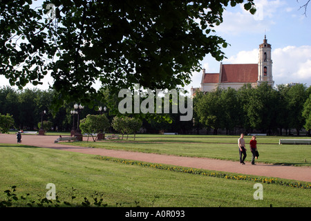 Lukiskiu aikste formerly known as Lenin Square in Vilnius Lithuania - Stock Photo