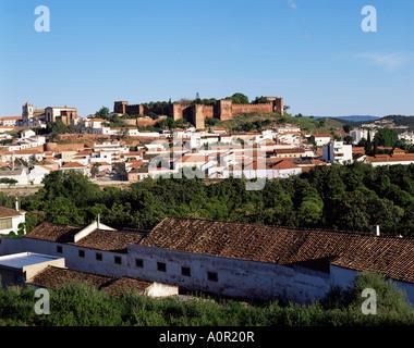 Moorish castle above Silves Portugal Europe - Stock Photo