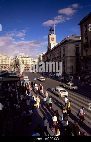 Puerta del Sol from the west Madrid Spain Europe - Stock Photo