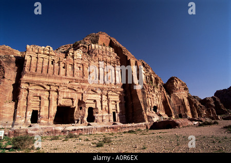 Palace Tomb in the chain of royal tombs Petra UNESCO World Heritage Site Jordan Middle East - Stock Photo
