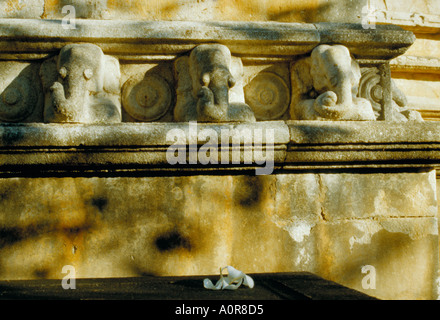 Elephant decoration on an ancient temple at Mihintale near Anuradhapura in the cultural triangle Sri Lanka - Stock Photo