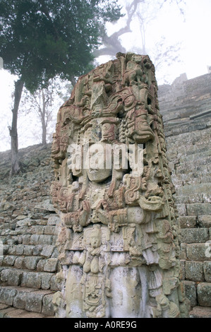 Stela N and Temple of Inscriptions Mayan site Copan UNESCO World Heritage Site Honduras Central America - Stock Photo